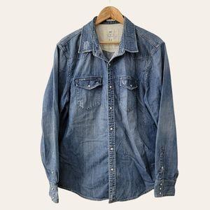 Pearl Snap Denim Button Up Shirt